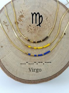 VIRGO Morse Code necklace, CUSTOM morse code, Secret Message, Dainty necklace, Personalized, Morse code jewelry, Birth necklace, sister Gift de KukanaJewelry en Etsy