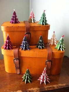 Origami Christmas Tree Ornaments Merry  SIx by PaperoniPress, $16.25