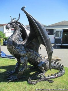 Steampunk Dragon Made Out Of Recycled Car Parts