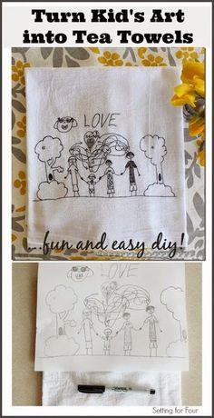 Childrens Art Into Tea Towels: Kids Craft Turn Kid's art into tea towels! Fun DIY to do with the kids artwork and great gift idea!Turn Kid's art into tea towels! Fun DIY to do with the kids artwork and great gift idea! Kids Craft Sets, Craft Projects For Kids, Easy Crafts For Kids, Diy For Kids, Kids Fun, Diy Projects, Children Crafts, Craft Tutorials, Art 33