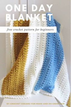 This easy crochet blanket can be finished in just one day! Made with basic stitches and chunky yarn, beginners and advanced crocheters alike can whip out this afghan in no time at all. This is the perfect last-minute baby shower gift, a quick holiday gift idea or a simple throw for any room in your house. Grab the free pattern, designed by Crochet Dreamz for Make and Do Crew. #makeanddocrew #crochetblanketpattern #crochetafghanpattern #beginnercrochetpattern Easy Crochet Blanket, Quick Crochet, Basic Crochet Stitches, Afghan Crochet Patterns, Crochet Patterns For Beginners, Free Crochet, Crochet Blankets, Crochet Ideas, Crochet Baby