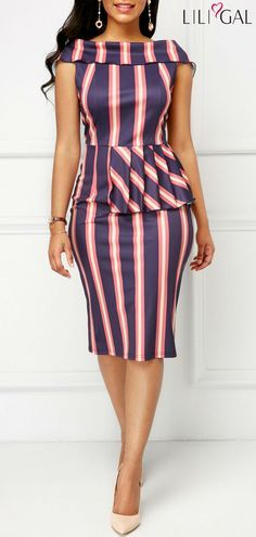 Peplum Waist Fold Over Striped Sheath Dress Latest African Fashion Dresses, African Dresses For Women, African Print Dresses, African Print Fashion, African Attire, African Wear, Kente Styles, Classy Dress, Casual Dresses