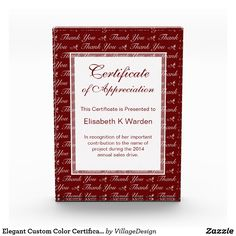 Elegant Custom Color Certificate of Appreciation Award