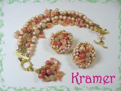 KRAMER   Pretty In Pink Glass Beads & Pearls Bracelet Earrings Set by FindMeTreasures, $49.00