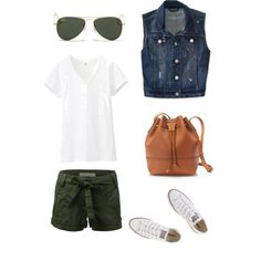 Effortless summer outfit. Denim vest + olive shorts +converse!! Uniqlo, Aeropostale, Converse, J.Crew and Ray-Ban