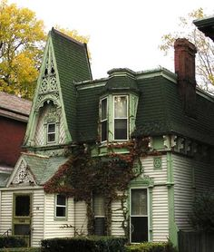 Second Empire home with enclosed porch. Some picturesque homes in this style… Old Buildings, Abandoned Buildings, Abandoned Places, Victorian Architecture, Architecture Details, Architecture Sketches, Beautiful Buildings, Beautiful Homes, Second Empire