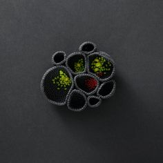 Nest brooch with green beads  reserved for alicestudio by ulani