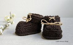 Hand Knitted Organic Cotton Baby Booties with by LittleBeauxSheep, $18.50