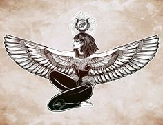 Egyptian diety Isis with outstratched wings. Isis is goddess of health, magic, and love. In Mesopotamian religion her name is Tiamat. Ankh Tattoo, Backpiece Tattoo, Sternum Tattoo, Goddess Symbols, Isis Goddess, Egyptian Goddess Tattoo, Spiritual Tattoo, Intricate Tattoo, Cover Up Tattoos