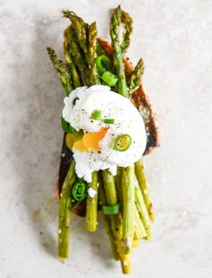 Roasted Sesame Asparagus Toasts with Poached Eggs.