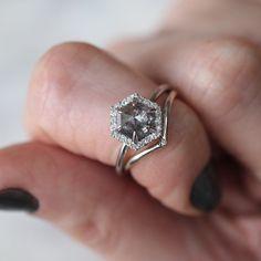 1.38 Carat Hexagon Salt & Pepper Diamond, Halo Engagement Ring, 14k White Gold