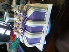 Purple and Gold Flower Cake.  $75.00