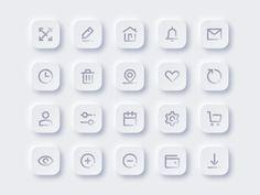 Set of Free Neomorphism Icons by Denis Novik on Dribbble Web Design Mobile, App Icon Design, App Ui Design, User Interface Design, Design Design, Site Design, Flat Design, App Design Inspiration, Design Responsive
