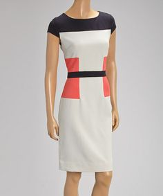Look what I found on #zulily! Coral & White Color Block Cap-Sleeve Dress by Donna Rae #zulilyfinds
