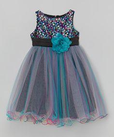 Look at this #zulilyfind! Teal Sequin Overlay Dress - Infant, Toddler & Girls by Kid's Dream #zulilyfinds