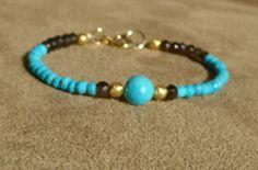 Genuine Turquoise Bracelet, Smokey Quartz Bracelet, Gemstone Bracelet, Blue Bracelet, Round Faceted Turquoise, Dainty Bracelet by ThreeMagicGenies on Etsy