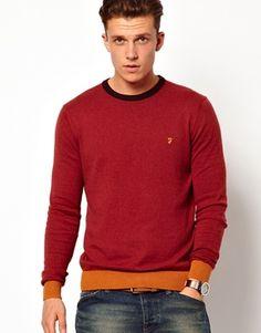 Image 1 of Farah Vintage Sweater with Contrast Hem