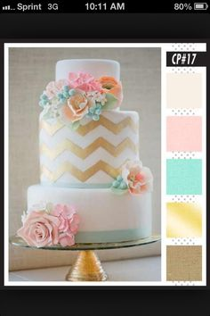 birthday cake - chevron and floral