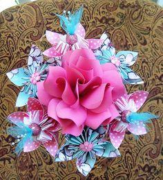 I'd alter the colors a bit, but cute ideas. Paper Flower Bouquet  7 Stem Kusudama Origami  Cherry by aquavina, $20.00