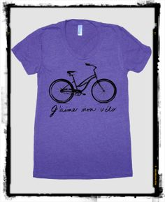 I Love my Bike French Bicycle American Apparel tee tshirt shirt Heathered vintage style screenprint ladies scoop top