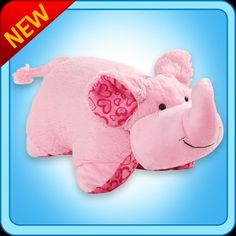 What has big fuzzy pink ears, a heart covered belly and curvy trunk? The XOXO Elephant Pillow Pet! Get this as a cute gift for your elephant-lover to cuddle up with. Elephant Pillow Pet, Pillow Pets, Pink Minnie, Minnie Mouse, Buy Pillows, Elephant Pattern, Cute Toys, Animal Pillows, Dinosaur Stuffed Animal