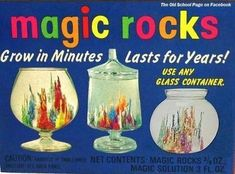 Do you remember Magic Rocks? These were sold at dime stores and in the back of comic books. I remember buying a set at a Stuckey's on v. 1970s Childhood, My Childhood Memories, Childhood Toys, Sweet Memories, School Memories, Childhood Friends, School Days, School Stuff, High School