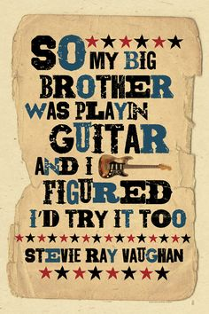 SRV quote Blues Music folk art poster 12x18 by by MojohandBlues
