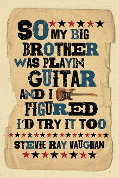 SRV quote Blues Music folk art poster 12x18 by by MojohandBlues