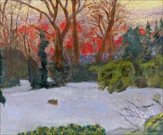 """""""Le jardin sous la neige, soleil couchant"""" by Pierre Bonnard"""