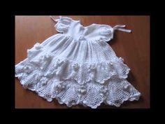 Modelos de vestidos a crochet para bautizo y presentacion - YouTube
