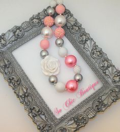 Chunky Necklace - Pink, white, and grey pearl Bead necklace - Children's Necklace - Chunky Beaded Necklace - Bubblegum Necklace. $18.00, via Etsy.
