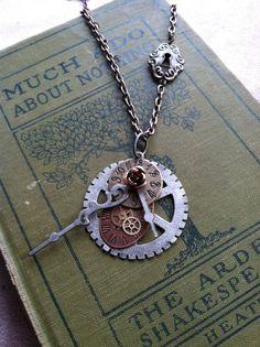 Steampunk unique watch face and gear pendant key by WontonBeauty, $19.00