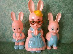 Vintage Family of Knickerbocker Bunnies Pink by SongbirdSalvation