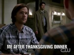 Mmmm thanksgiving sounds good right about now… #hungry They're just so CUTE #Supernatural #CW #SamWinchester #JaredPadalecki #Castiel #MishaCollins #DeanWinchester #JensenAckles #humor #memes #funny #Destiel #comedy #jokes #video #ThanksgivingDinner #TurkeyComa