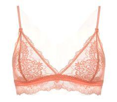 Lace Bralette , Women's Triangle Bra , Soft Triangle Bra , Pink Coral Lace Bra on Etsy, £52.50