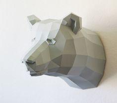 Papercraft template bear, brown bear trophy, faux trophee, fake trophy by PaperwolfsShop on Etsy