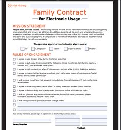 "Tired of fighting about screen time? Concerned about what your kids are doing online? Get on the same page with this FREE digital contract!  <a href=""https://www.netnanny.com/blog/family-contract-for-electronic-devices/?utm_source=pin&utm_campaign=201611_digitalcontract&utm_medium=ad&pid=25-1"" rel=""nofollow"" target=""_blank"">www.netnanny.com/...</a>"