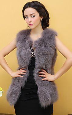 Sleeveless Fox Fur Long Vest – USD $ 599.99