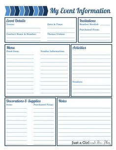 My Event Information Printable By Just A Girl And Her Blog   Organized List  For Planning