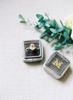 Gray wedding ring box
