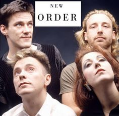 """New Order. Born from the ashes of Joy Division, the band probably had the single best alternative dance song of the with """"Bizarre Love Triangle."""" Their use of electronics, simple guitar riffs but melodic bass guitar lines gave them a very unique sound. Ian Curtis, Joy Division, 80s Music, Music Icon, Punk Rock, Gillian Gilbert, Blue Soul, Wave Dance, Dark Wave"""