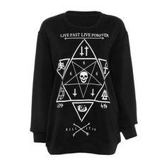 Six-pointed Star Print Black Sweatshirt | pariscoming