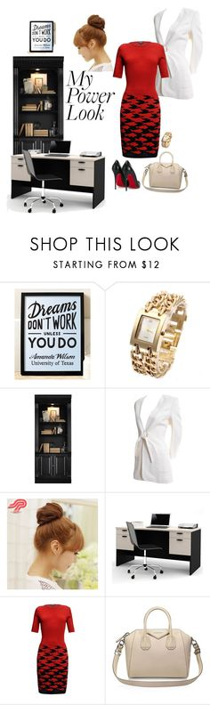 """Do More Than Look Good, Play Hard, Work Harder"" by missamandapmoss ❤ liked on Polyvore featuring Hypolita, Hooker Furniture, Claude Montana, Pin Show, Bestar, Rumour London, Givenchy and Christian Louboutin"