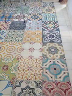 Beautiful colourful Moroccan tiles laid in a multi-pattern design on the floor could just as easily be on the wall Kitchen Tiles, Kitchen Flooring, Flooring Tiles, Wooden Flooring, Moroccan Tiles, Morrocan Floor Tiles, Tile Floor, Moroccan Kitchen, Moroccan Lanterns