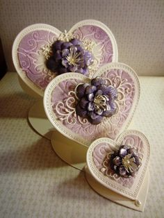 I love this layered triple stand up hearts card