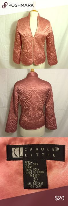 100% Silk Woman's Quilted Design Jacket Ultra soft silk jacket with beautiful quilted design. Details: Pre-owned Carole Little Jackets & Coats Blazers