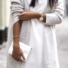 Monochrome with gold details. // Follow @ShopStyle on Instagram for more inspo.