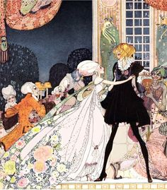 """'Don't drink!' cried out the little Princess, springing to her feet.""  from the Twelve Dancing Princesses  Kay Nielsen, 1913  Quiller-Couch, Sir Arthur. In Powder and Crinoline: Old Fairy Tales. Kay Nielsen, illustrator. London: Hodder & Stoughton, n.d. [1913]."