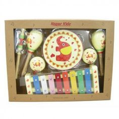 An elephant themed musical set containing a xylophone, tambourine, 2 maracas, 2 castanets and a bell stick.