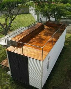 Container House - Rooftop deck on a shipping container home - Who Else Wants Simple Step-By-Step Plans To Design And Build A Container Home From Scratch? Building A Container Home, Container Buildings, Container Architecture, Sustainable Architecture, Contemporary Architecture, Residential Architecture, Architecture Design, Beautiful Architecture, Modern Tiny House